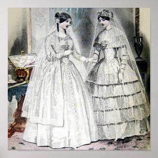 Antique White Wedding Dresses Poster