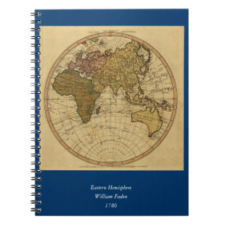 Antique William Faden 1786 Eastern Hemisphere Map Note Book