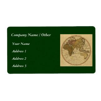 Antique William Faden 1786 Eastern Hemisphere Map Shipping Label