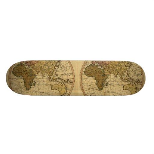 Antique William Faden 1786 Eastern Hemisphere Map Custom Skateboard