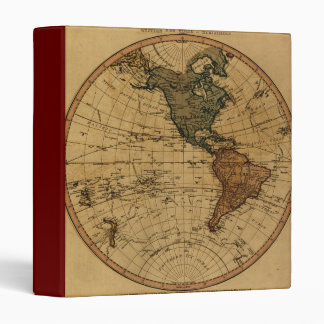 Antique William Faden 1786 Western Hemisphere Map Vinyl Binder