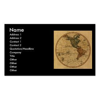 Antique William Faden 1786 Western Hemisphere Map Business Cards