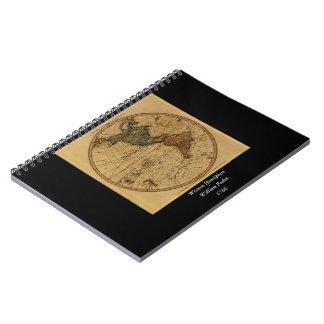 Antique William Faden 1786 Western Hemisphere Map Spiral Note Book