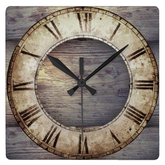 """Antique Wood"" Clock with Roman Clockface"