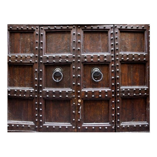 Antique wood door in Florence Postcard