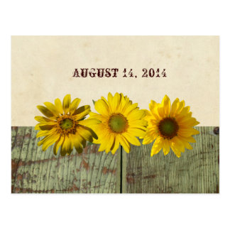 Antique Wood Yellow Sunflower Save the Date Postcard