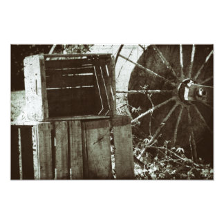 Antique Wooden Crates Vintage Wheel Farm Crate Photo Print