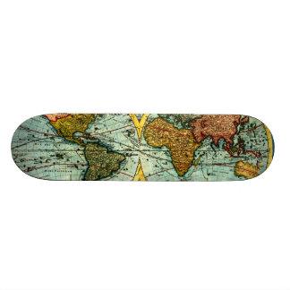 Antique World Globe Map Vintage Art Wall Board Custom Skateboard