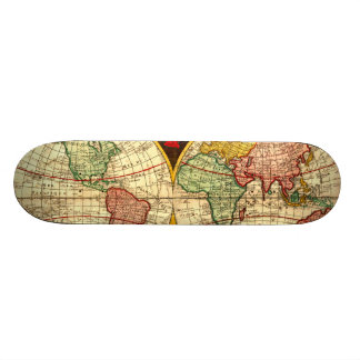 Antique World Globe Map Vintage Art Wall Board Skateboard Deck