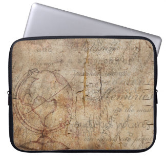 Antique World Globe Rustic Brown Laptop Sleeve