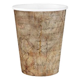 Antique World Globe Rustic Brown Paper Cups