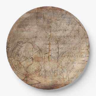 Antique World Globe Rustic Brown Paper Plates 9 Inch Paper Plate