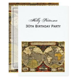 Antique World Map #2, DIY White BG V Birthday Card