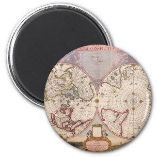 Antique World Map 2 Inch Round Magnet
