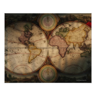 Antique world map 2 poster