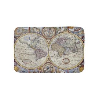 Antique World Map #3 Bathroom Mat