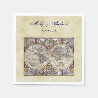 Antique World Map #3, Distressed BG #3 Paper Napkins