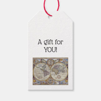 Antique World Map #3 Gift Tags