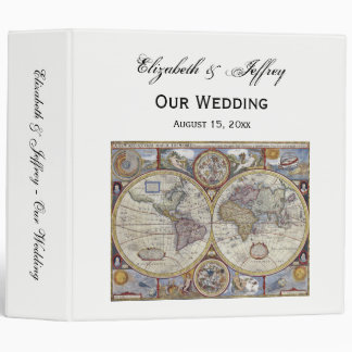 Antique World Map #3 Wedding Binder
