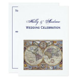 Antique World Map #3 Wedding Card