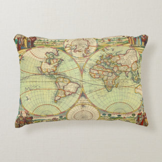 Antique World Map #4 Decorative Pillow