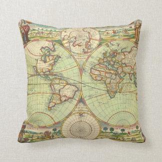 Antique World Map #4 Throw Pillow