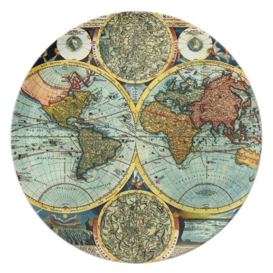 Antique World Map Art Vintage Style Decorator Plate