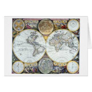 Antique World Map, Atlas Maritimus by John Seller Card