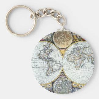Antique World Map, Atlas Maritimus by John Seller Keychain