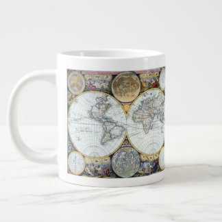 Antique World Map, Atlas Maritimus by John Seller Large Coffee Mug