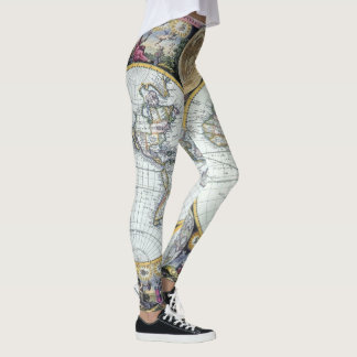 Antique World Map, Atlas Maritimus by John Seller Leggings