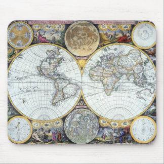 Antique World Map, Atlas Maritimus by John Seller Mouse Pad