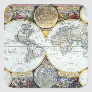 Antique World Map, Atlas Maritimus by John Seller Square Sticker