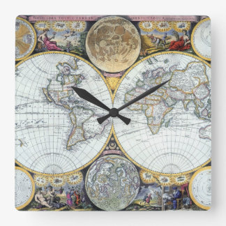Antique World Map, Atlas Maritimus by John Seller Square Wall Clock