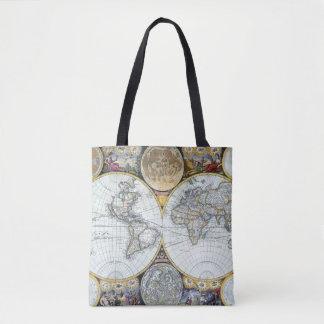 Antique World Map, Atlas Maritimus by John Seller Tote Bag