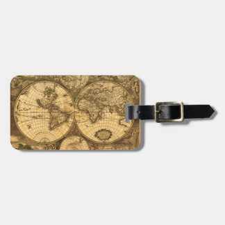 Antique World Map Bag Tag