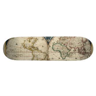 Antique World Map - Blaeu, Joan 1664 Skateboard