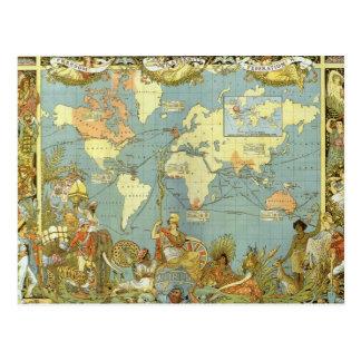 Antique World Map British Empire 1886 Post Cards