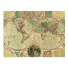 Antique World Map by Carington Bowles, circa 1780 Postcard