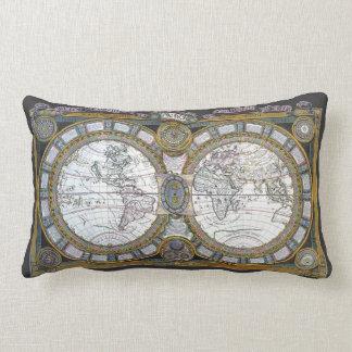 Antique World Map by Claude Auguste Berey, 1688 Lumbar Pillow