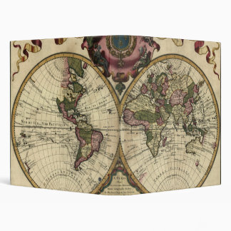 Antique World Map by Guillaume de L'Isle, 1720 3 Ring Binder