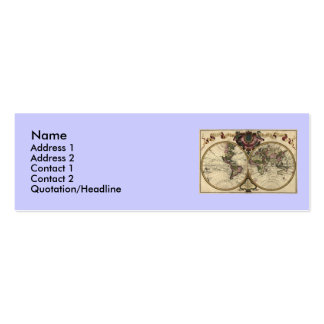 Antique World Map by Guillaume de L'Isle, 1720 Business Card Template