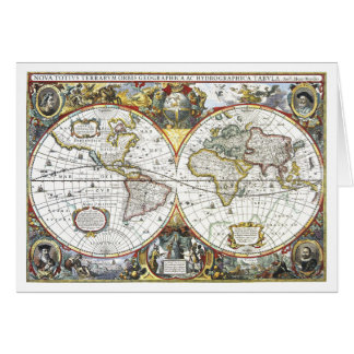Antique World Map by Hendrik Hondius, 1630 Card