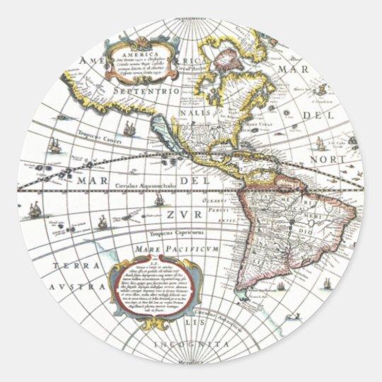 Antique World Map by Hendrik Hondius, 1630 Classic Round Sticker