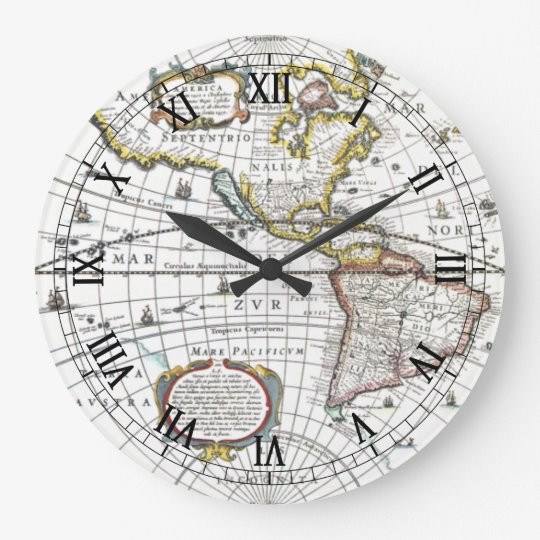 Antique World Map by Hendrik Hondius, 1630 Clock