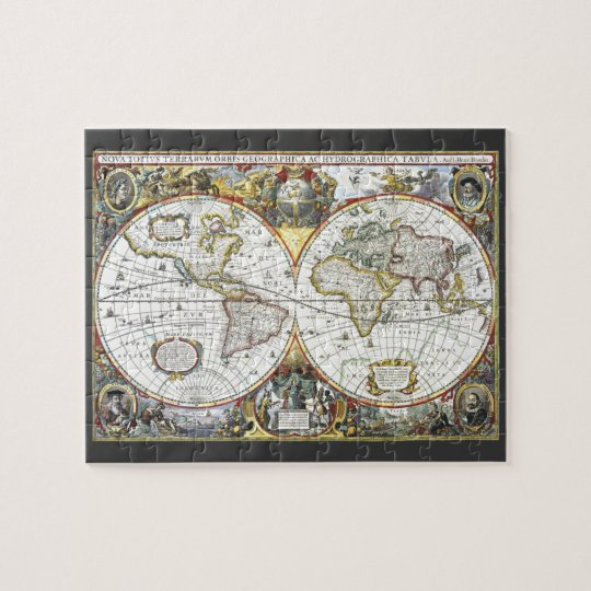 Antique World Map by Hendrik Hondius, 1630 Jigsaw Puzzle
