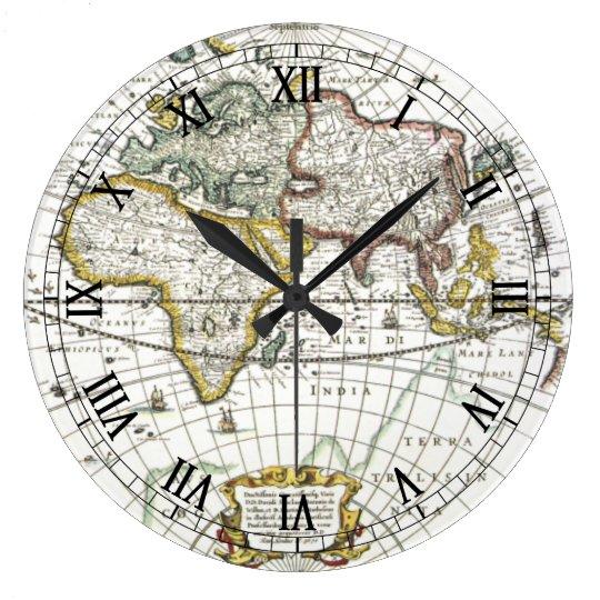 Antique World Map by Hendrik Hondius, 1630 Large Clock
