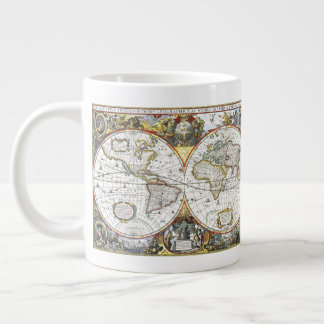 Antique World Map by Hendrik Hondius, 1630 Large Coffee Mug