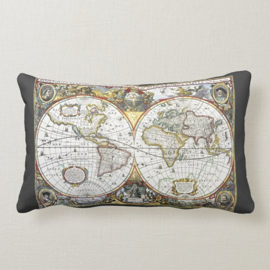 Antique World Map by Hendrik Hondius, 1630 Lumbar Pillow