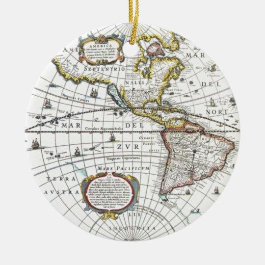 Antique World Map by Hendrik Hondius, 1630 Round Ceramic Ornament
